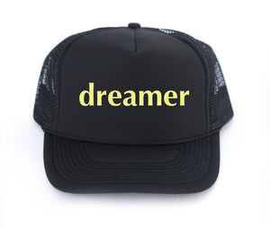 Dreamer trucker hat, hand printed, dreamer art, made in California, mothersun hats, DACA, the Dreamers