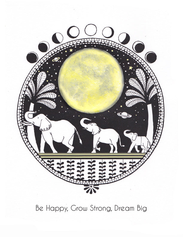 Mothersun art, Super Moon art, Elephant drawing, art posters for your home, office, and nursery