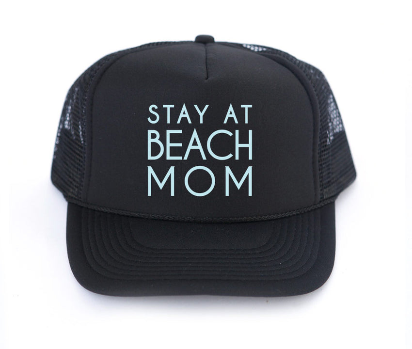 Stay at Beach Mom trucker hat, hand printed, mystical art, made in California, mothersun hats