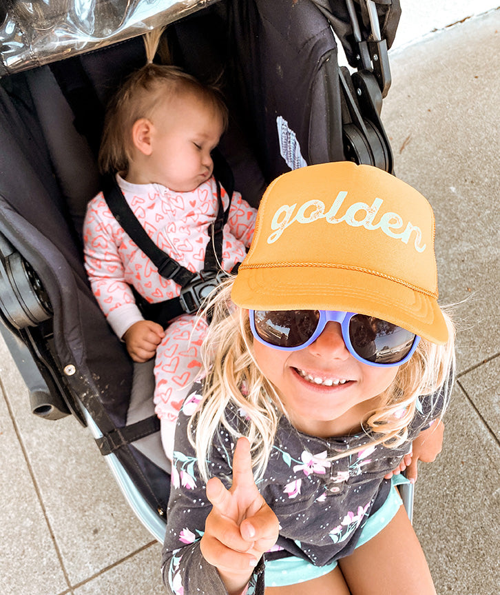 golden trucker hat for kids, yellow kids trucker hat