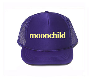 moonchild hat, moonchild trucker hat, mothersun hats, handprinted, made in california, child trucker hat