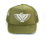 Hawk Omen trucker hat, hand printed, mayan hawk art, made in California