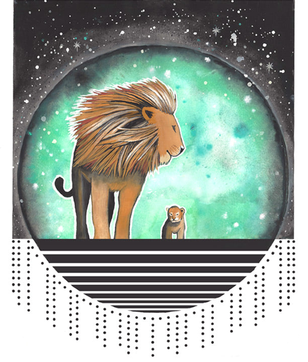 King Lion and little lion cub, watercolor, lion art, lion family art