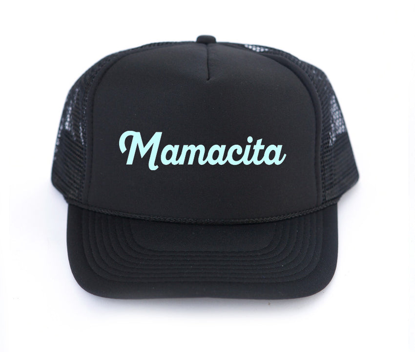 MAMACITA trucker hat, hand printed, mothersun hats, made in California