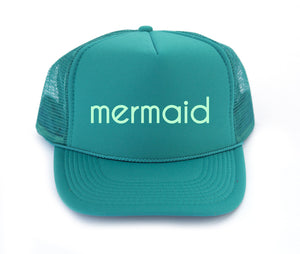 child mermaid trucker hat in jade