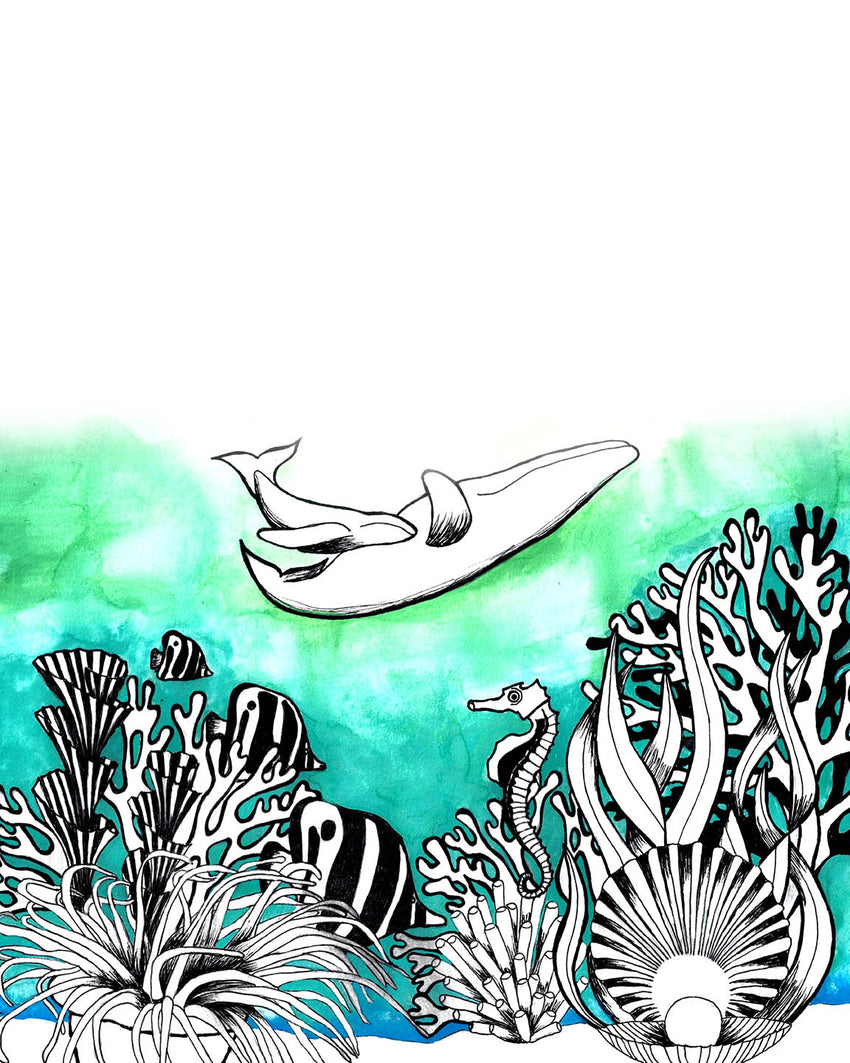 whale mother and her baby, whale art, whale home decor