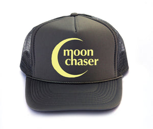 Moon Chaser trucker hat, hand printed, moon art, made in California