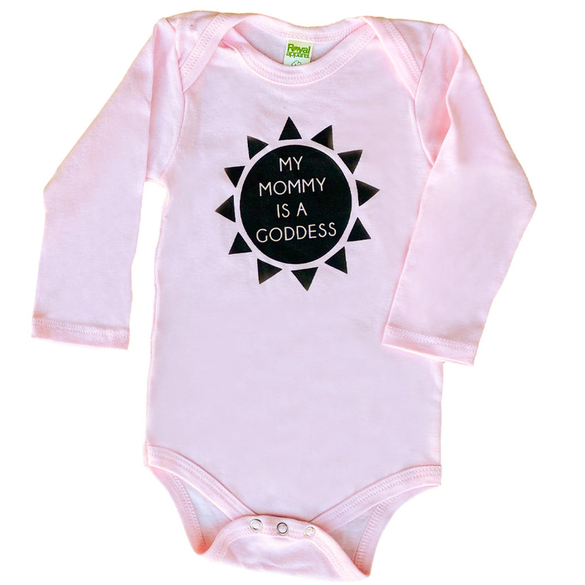my mommy is a goddess baby organic long sleeve onesie in pink