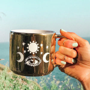 sun and moon coffee mug, the sun brings new beginnings every day, positive morning affirmations, metallic gold coffee mug, goddess coffee mugs, bohemian coffee mugs, coffee mugs online