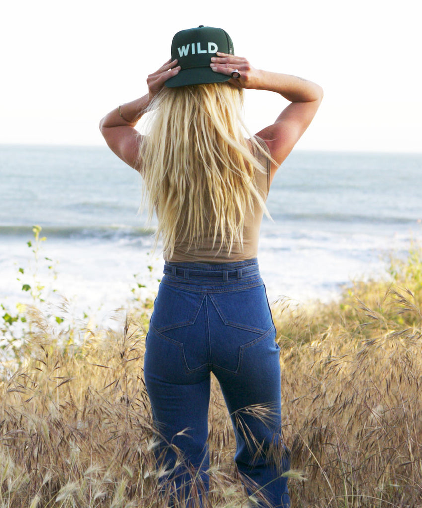 Wild trucker hat, hand printed, mothersun hats, made in California