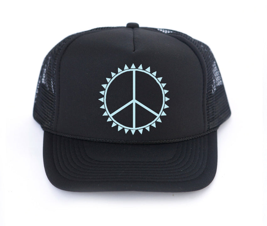 Peace trucker hat, hand printed, peace art, made in California