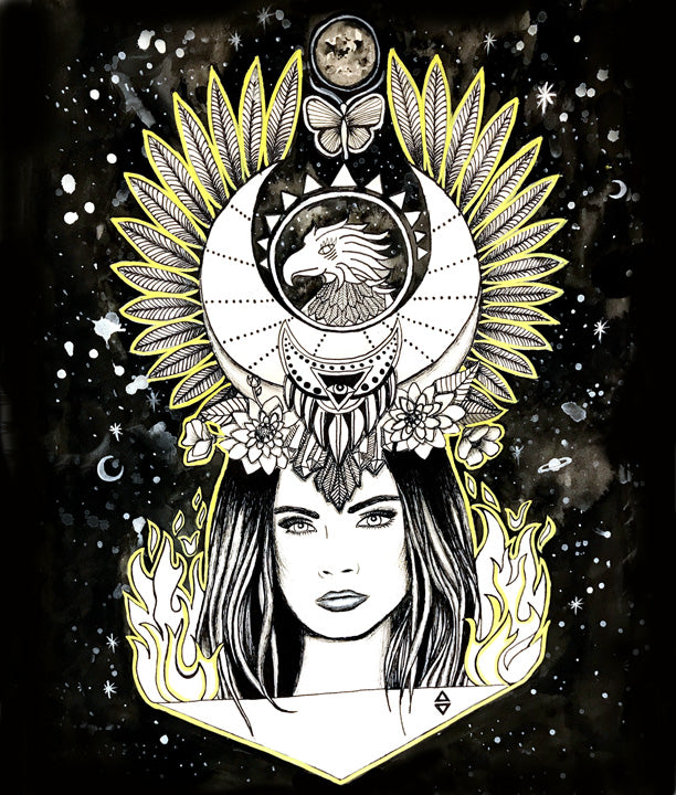 phoenix rising empowered woman art, mothersun art
