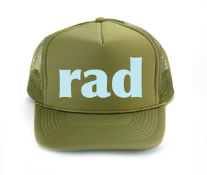 rad trucker hat in olive green
