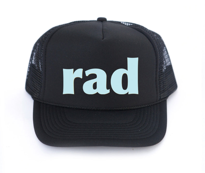 kids rad trucker hat in black