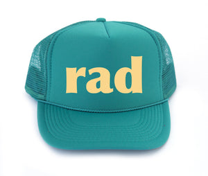 rad kids trucker hat in jade