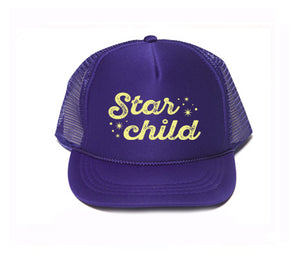 starchild hat, starchild trucker hat, mothersun hats, handprinted, made in california, child trucker hat, celebrity style, seen on Pink
