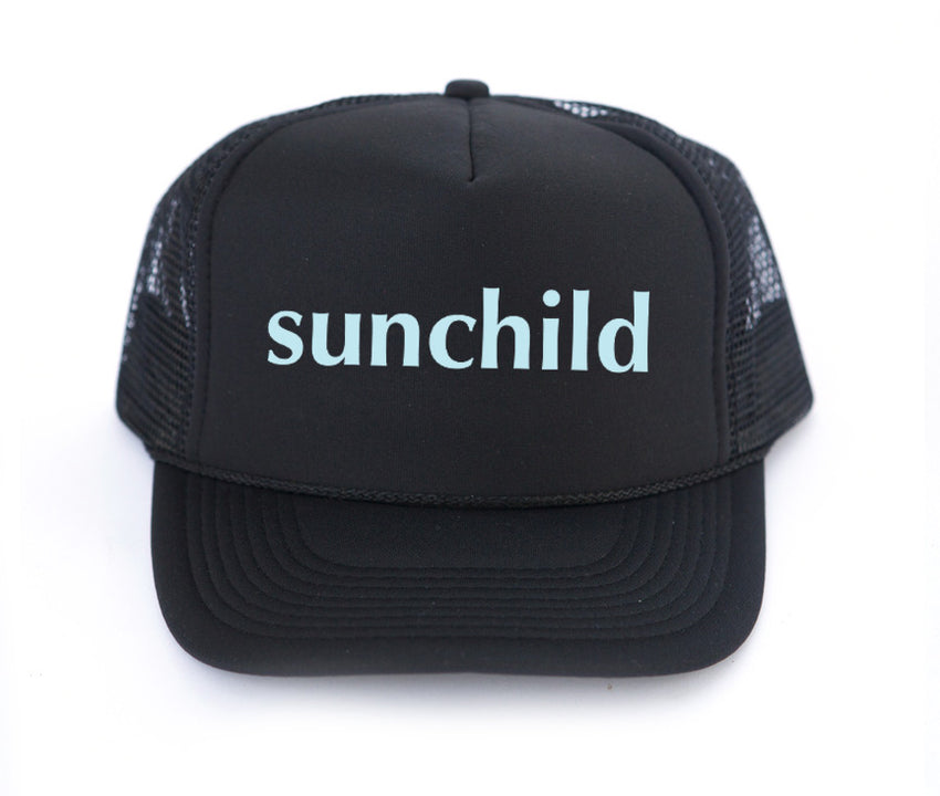 Sunchild trucker hat, hand printed, mothersun hats, made in California