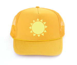 sunshine trucker hat in gold