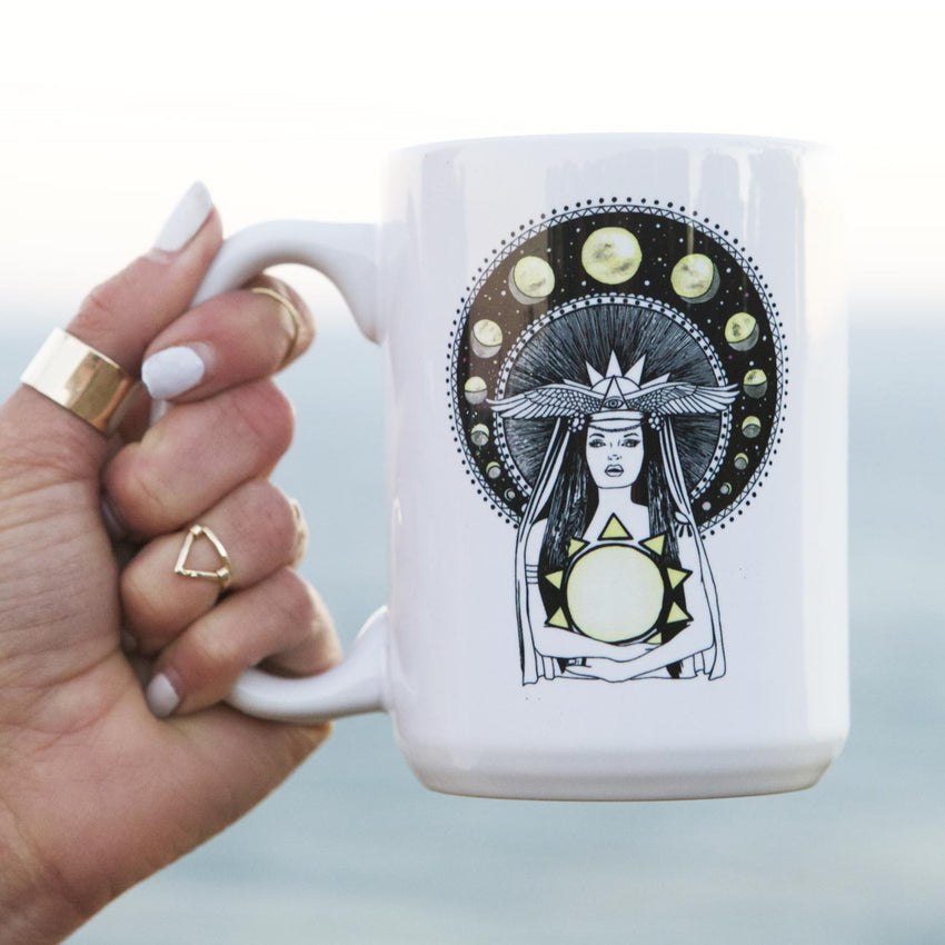 empowered woman coffee mugs, goddess coffee mug design, mothersun and the captain