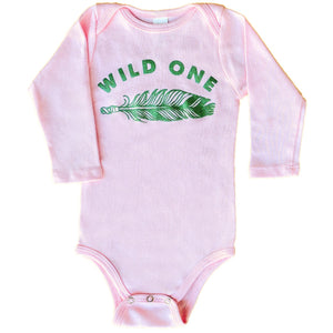 wild one organic long sleeve baby onesie in pink
