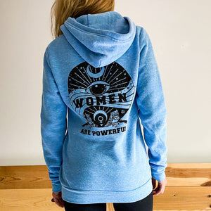 Women Are Powerful Triblend Fleece Hoody in Sky Blue