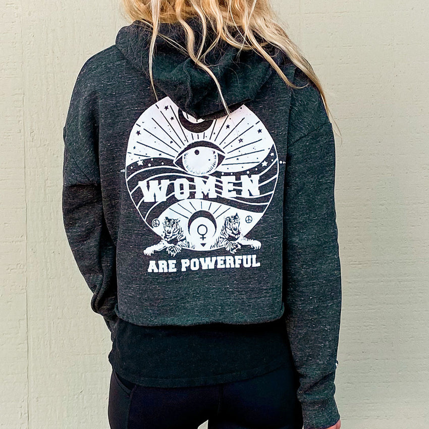 women are powerful eco friendly crop hoody