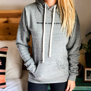 Women Are Powerful Triblend Fleece Hoody in Grey