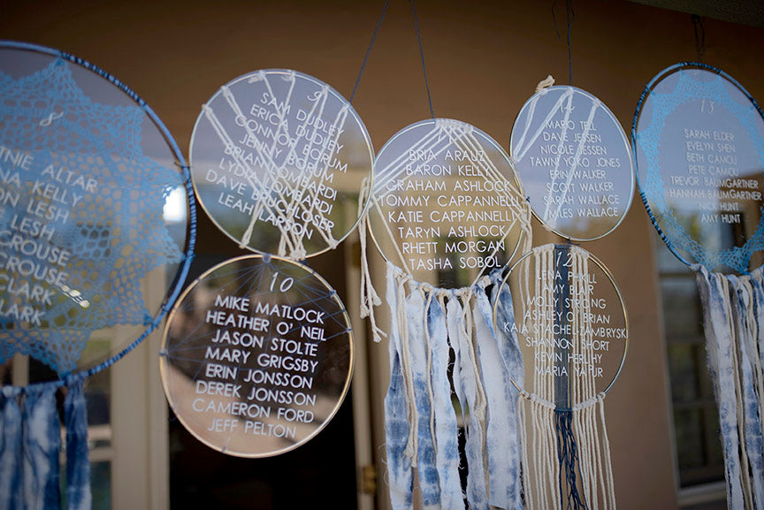 Dream catcher wedding escort display