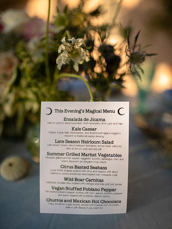 Santa Barbara wedding food menu
