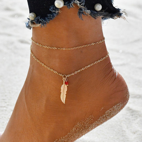 Double Chain Leaf Anklet Jewelry - Double Chain Leaf Anklet Jewelry - Jewelry & Watches- Turquoise Petal My BeezNest newborn