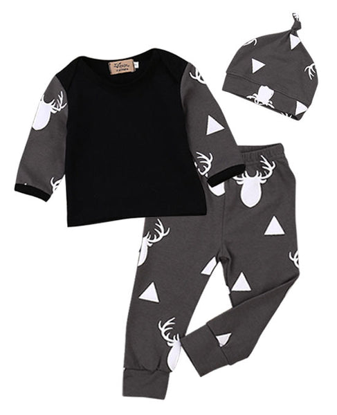 grey winter deer outfit baby clothes set