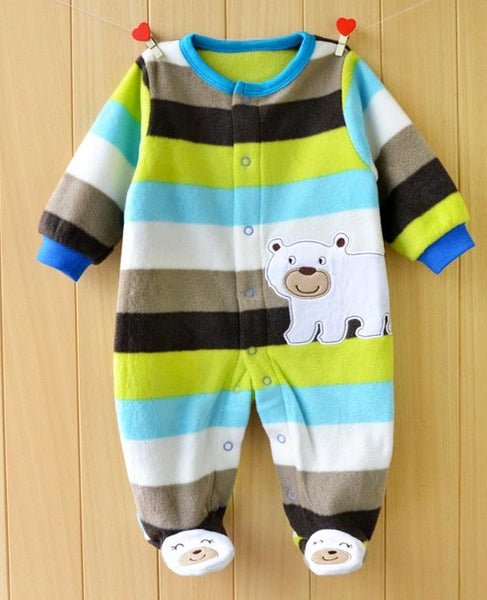 front view of winter bear fleece jumpsuit striped blue green beige brown white