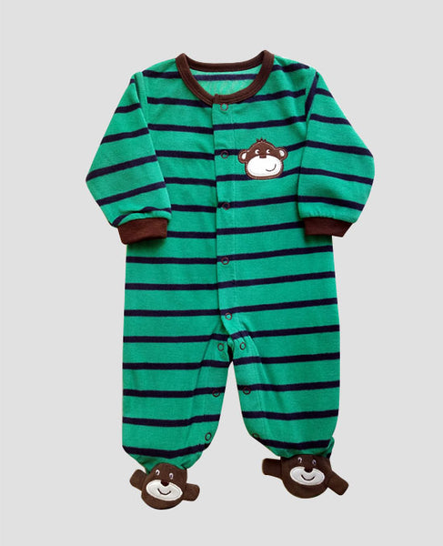 front view of monkey fleece jumpsuit striped green brown