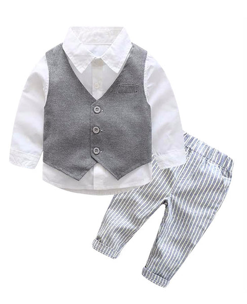 Striped Formal Baby Boys Suit with Vest & Bowtie