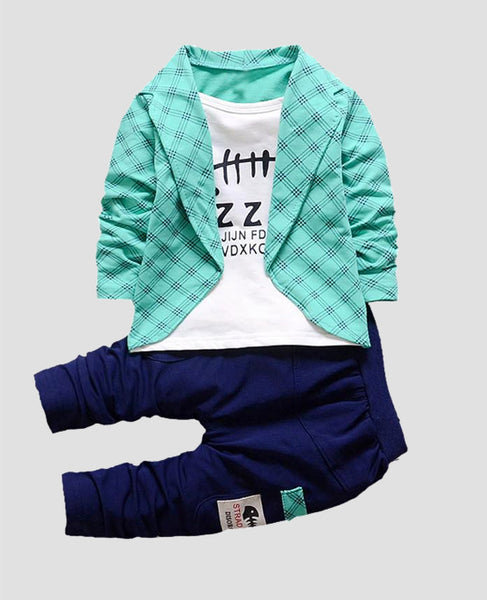 baby boy clothes set cotton pants teal blue
