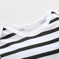 collar area of newborn baby boy girl unisex cotton black white striped pattern seasonal onesie kids clothes jumpsuit letter print toddler