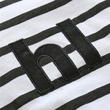 Hi lettering newborn baby boy girl unisex cotton black white striped pattern seasonal onesie kids clothes jumpsuit letter print toddler