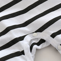 buttons of newborn baby boy girl unisex cotton black white striped pattern seasonal onesie kids clothes jumpsuit letter print toddler