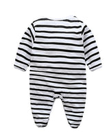 back view newborn baby boy girl unisex cotton black white striped pattern seasonal onesie kids clothes jumpsuit letter print toddler