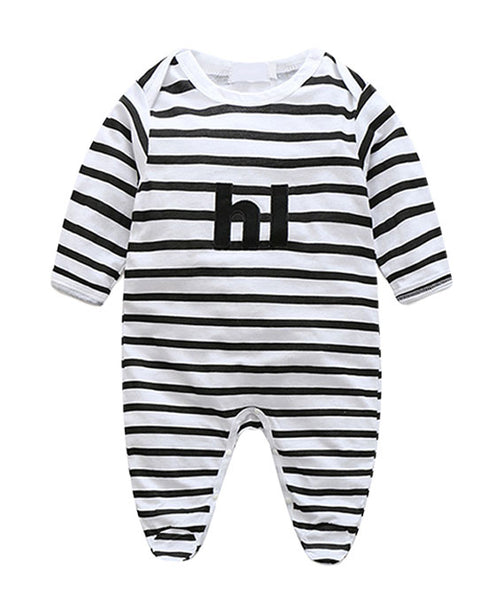 front view newborn baby boy girl unisex cotton black white striped pattern seasonal onesie kids clothes jumpsuit letter print toddler