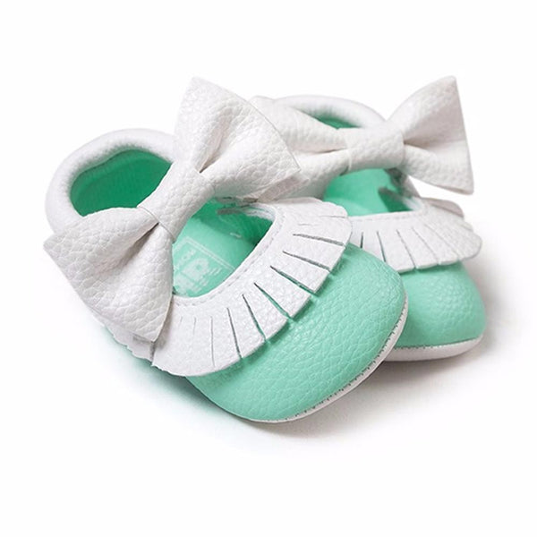 Baby Girl Leather Moccasins with Bowtie - Baby Girl Leather Moccasins with Bowtie - Shoes- My BeezNest My BeezNest newborn