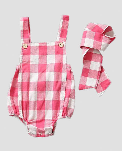 Plaid Romper Baby Clothing Apparel Pink White Checkered Pattern Print Cotton