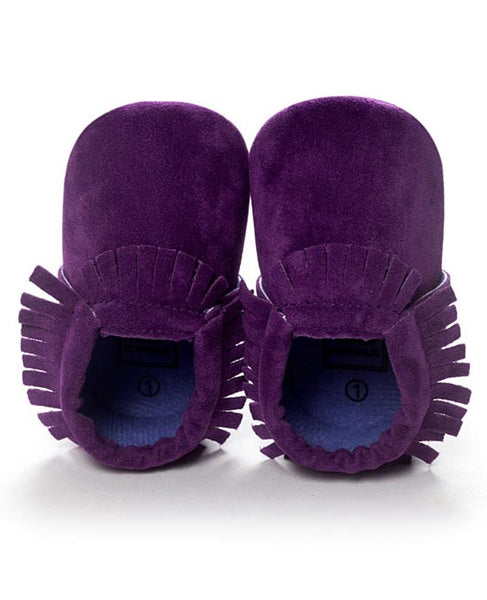 purple leather suede baby moccasins newborn crib shoes