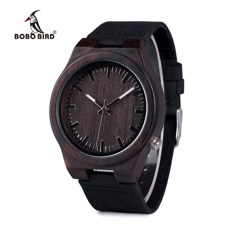 BOBO BIRD Men's Asymmetric Design Ebony Wooden Watch
