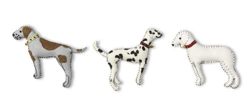 White felt dog ornament