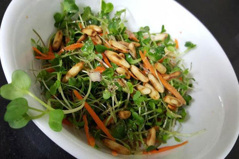 microgreens salad, recipe for microgreens salad,