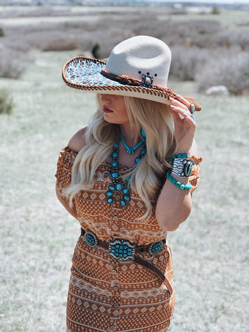 Boho Rust Ruffle Dress and Leopard hat