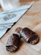 Tooled Leather Slides