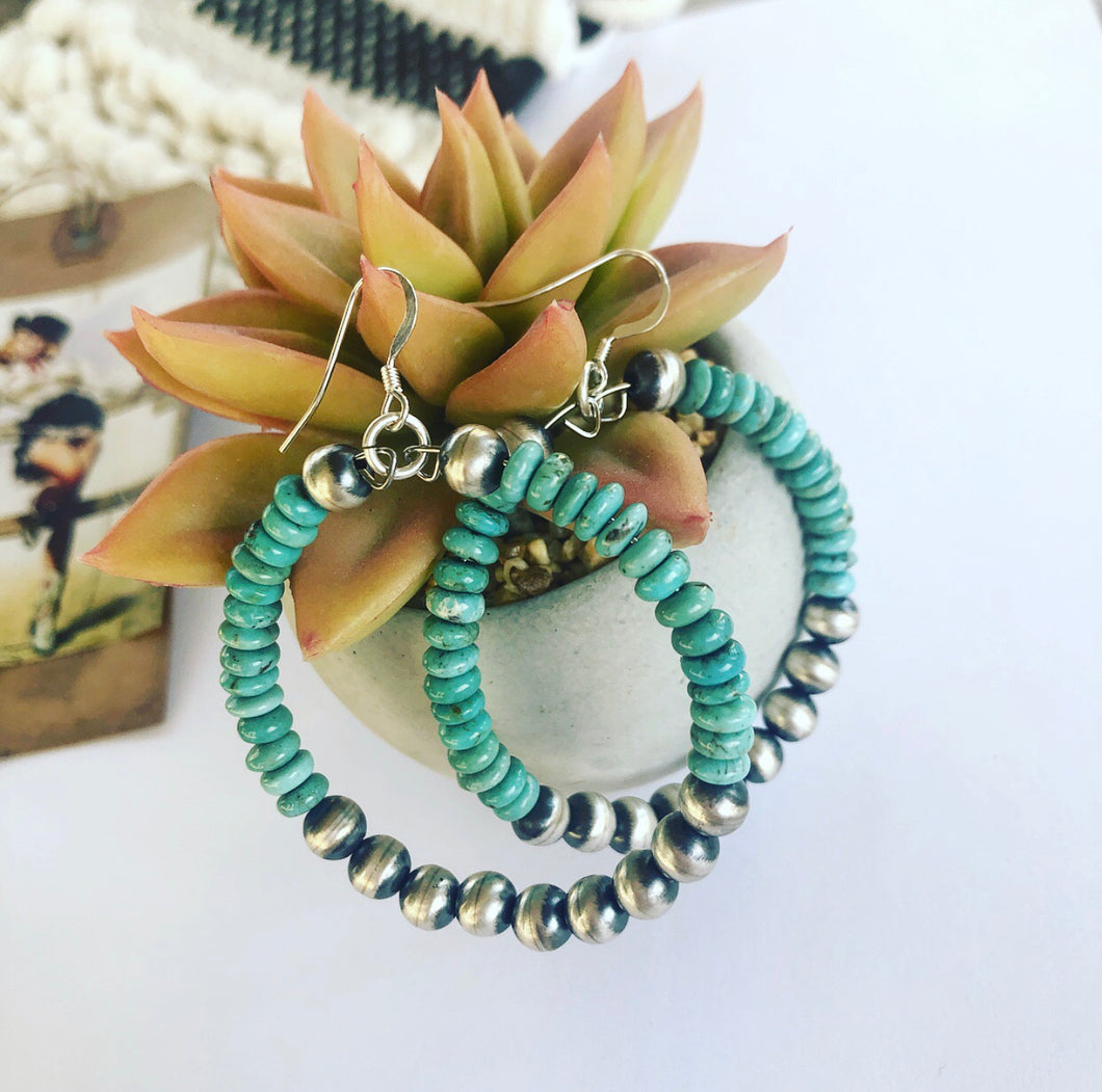 Turquoise and Navajo Pearl Hoops