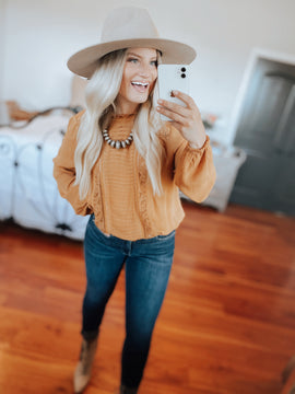Pumpkin Spice Lace Detailed Blouse